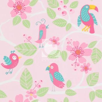 124802-1 Птицы Обои МОФ розовые